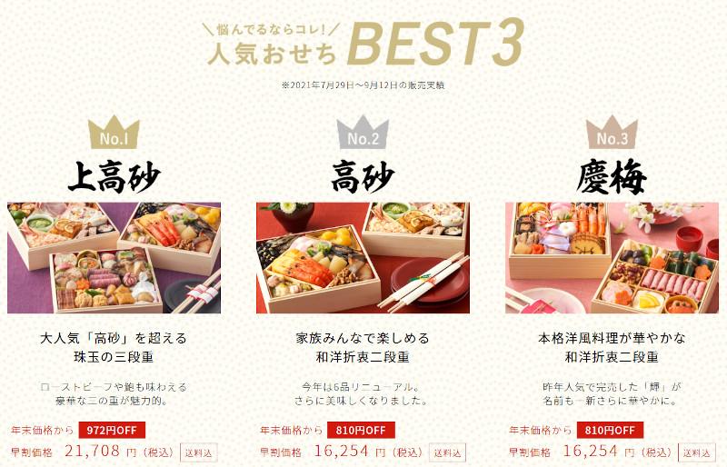 Oisixおせち人気Best3
